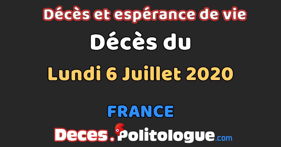 Statistiques Completes Sur Les Deces Du Lundi 6 Juillet 2020